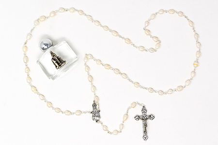 Fatima Pearl Rosary Beads & Holy Water.