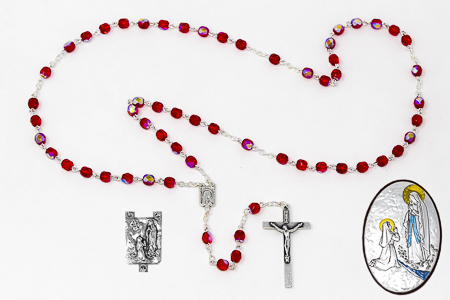 Red Crystal Lourdes Rosary Gift Set.