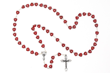 Red Virgin Mary Rosary.