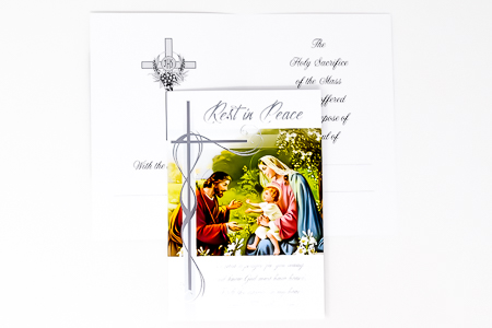 Holy Family  Rest in Peace Mass Card.