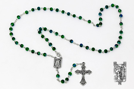 Green Lourdes Rosary Beads.