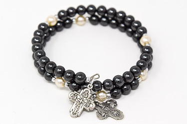 Memory Wire Hematite Rosary Bracelet.