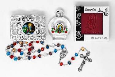 Rosary, Lourdes Water & Lavender Soap Gift Set.