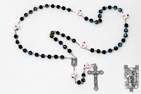 Rose Crystal Black Beautiful Apparition Rosary Beads.