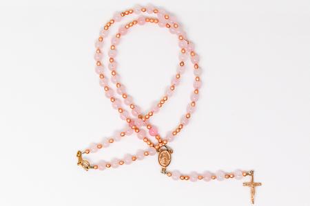 Rose Quartz Birthstone Rosary Necklace.