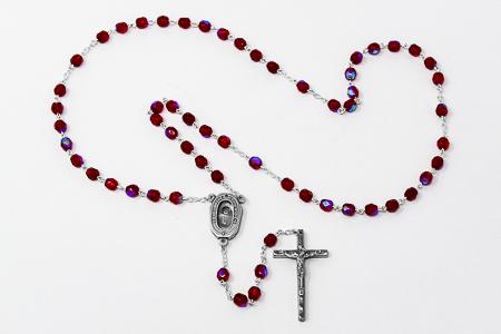 Ruby Bohemia Crystal Rosary Beads.