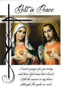 Sacred Heart Rest in Peace Mass Card.