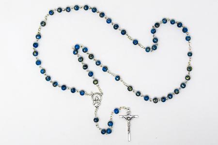 Sacred Heart of Jesus Blue Rosary Beads.