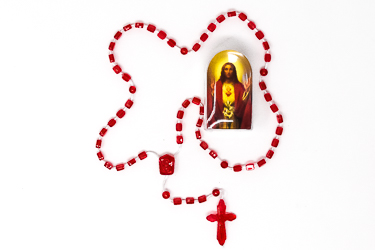 Sacred Heart of Jesus Red Rosary.