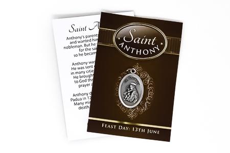 Saint Anthony Oxidized Medal.