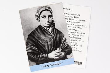 St Bernadette Soubirous Prayer Card.