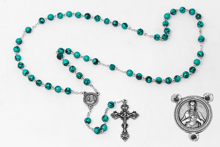 Turquoise Scapular Medal Rosary Beads.