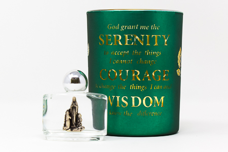 Serenity Prayer Glass Votive Holder.