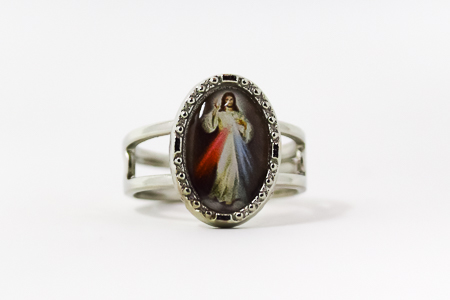 Silver Divine Mercy Adjustable Ring.