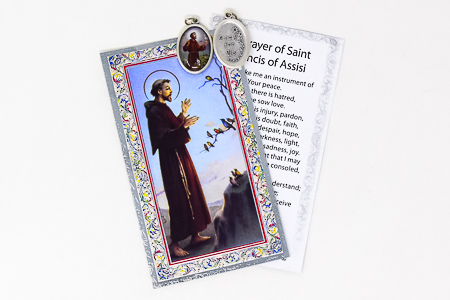 Prayer Card to St.Francis with Medal.