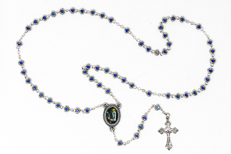 Lourdes Blue Heart Rosary Beads.