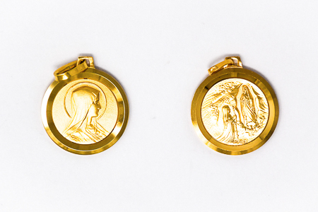 Solid Gold Virgin Mary Pendant .