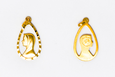 18 kt Gold Our Lady of Lourdes Pendant.