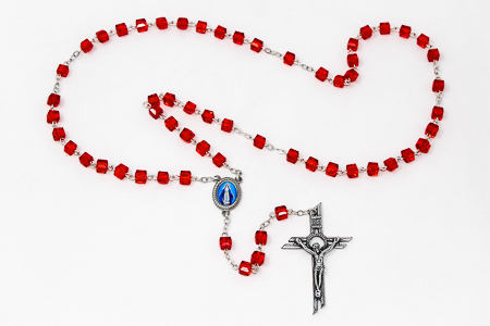 Red Square Miraculous Rosary Beads.