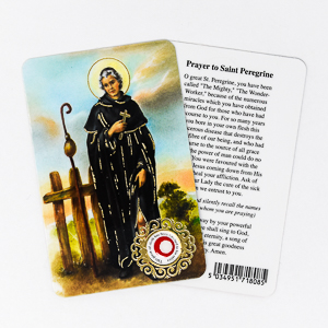 St. Peregrine Prayer Card with Relic Cloth.