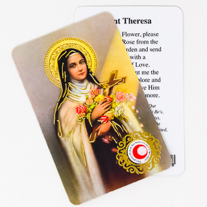 St.Theresa Prayer Card with Relic Cloth.