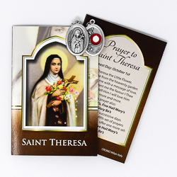 Prayer Booklet to St. Theresa with Relic Medal.