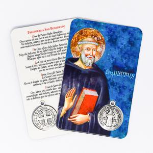 Saint Benedict Prayer Card & Medal