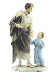 St. Joseph Statue Walking with Infant Jesus.