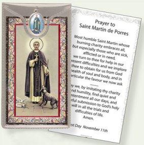 St.Martin De Porres Medal & Prayer Card.