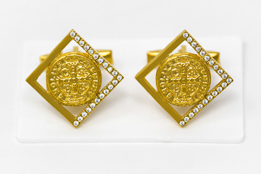 Gold St Benedict Cuff Link's.