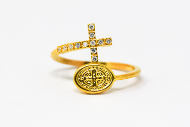 Gold St Benedict Silver Ring.