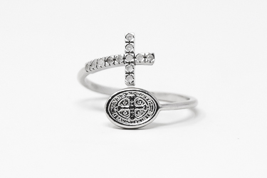 Silver St Benedict Silver Ring.