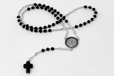 Saint Benedict Silver Rosary.
