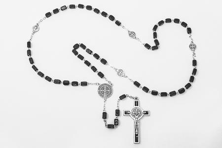 St Benedict Wooden Black Rosary.
