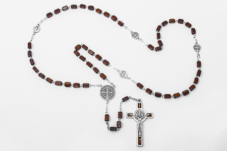 St Benedict Wooden Brown Rosary.