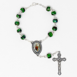 St Christopher Green Glass Car Rosary.