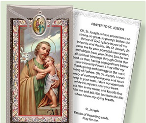 Prayer Card to St Joseph with Medal.