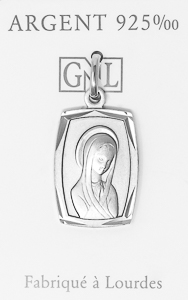 Rectangular Virgin Mary Pendant.