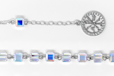 Rosary Bracelet with Word Peace Pendant.