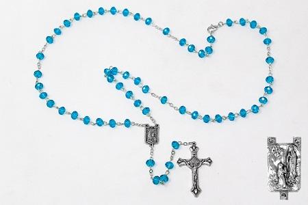Turquoise Diamond Cut Crystal Rosary.