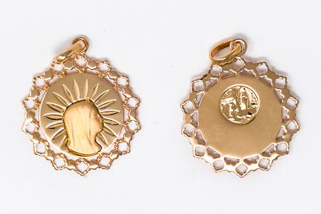 Virgin Mary Scalloped Pendant.