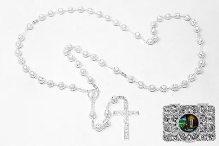 Virgin Mary Silver Rosary Beads.