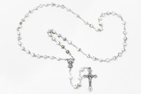 White Virgin Mary Rosary Beads.