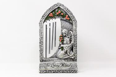 Standing Windchime Angel Graveyard Statue.