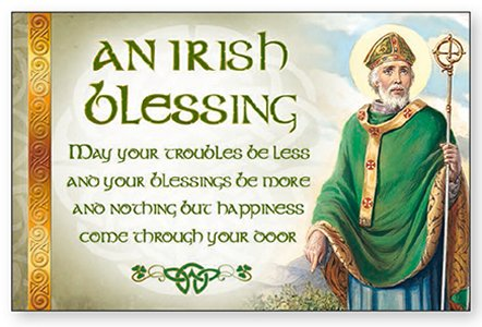 Wood Post A Plaque Irish Blessing.