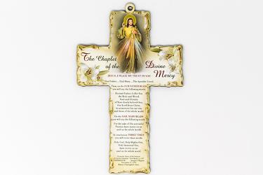Wood Cross Divine Mercy.