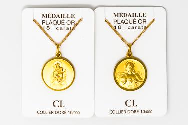 Gold Scapular Necklace.