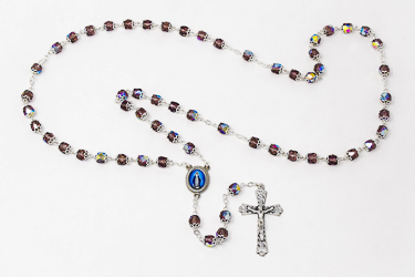 Amethyst Miraculous Rosary Beads.
