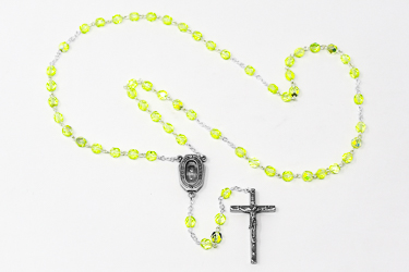 Light Green Bohemia Crystal Rosary Beads.