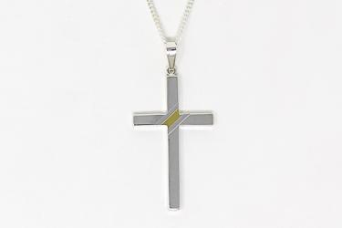 Men's Sterling Silver Cross Necklace.
